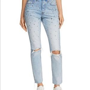 Levi 501 Counting stars embellished jeans NWT